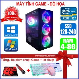 Case Game LED CPU Core i7 / i5 / i3 / Ram 4G / SSD 120GB Chơi PUBG mobile, PUBG, LOL, CF đột kích, Fifa + Quà Tặng Khủng
