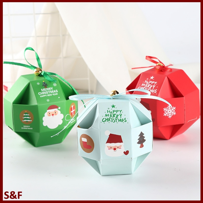10 Pcs/Set Merry Christmas Candy Box with Bells Paper Container