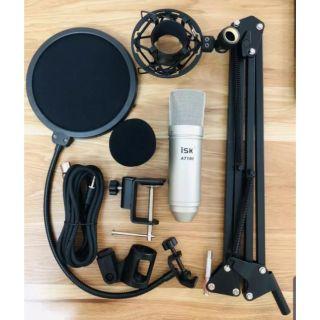 Combo mic thu âm ISK AT100 + chân mic kẹp bàn +màng lọc âm