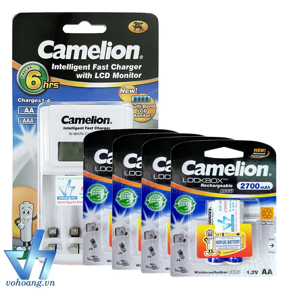 Bộ sạc Camelion 1012 kèm 8 pin AA 2700mAh, tự ngắt sạc, có màn hình
