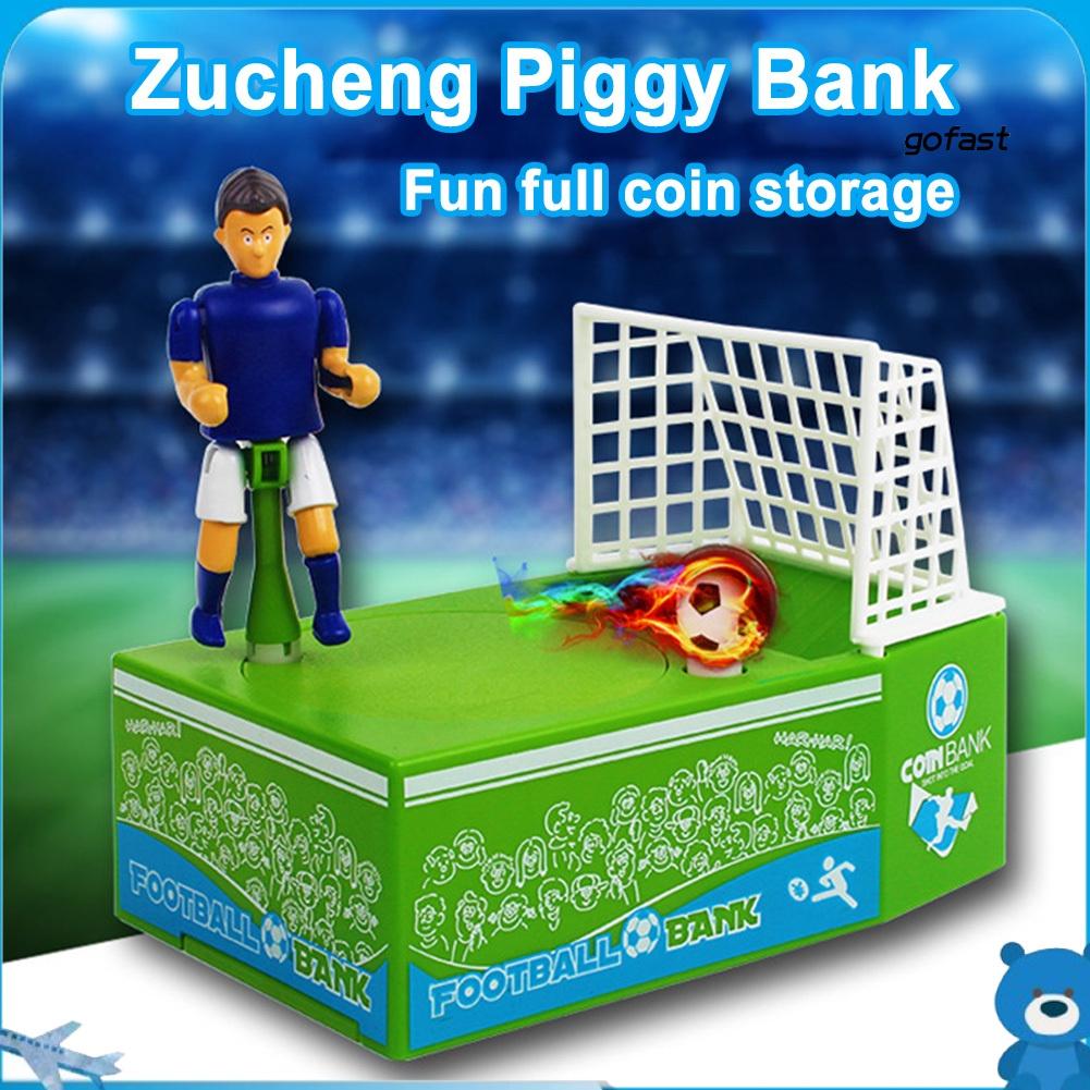 GO-Electric Soccer Player Goal Kicking Piggy Bank Coin Money Saving Box Kids Toy