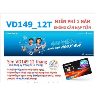 (FREE 12THÁNG) SIM 4G VINA VD149 =4G/NGÀY VD89 =2GB/NGÀY GỌI NGOẠI MẠNG VÀ TỲ PHÚT NỘI MẠNG MUA 1 LẦN