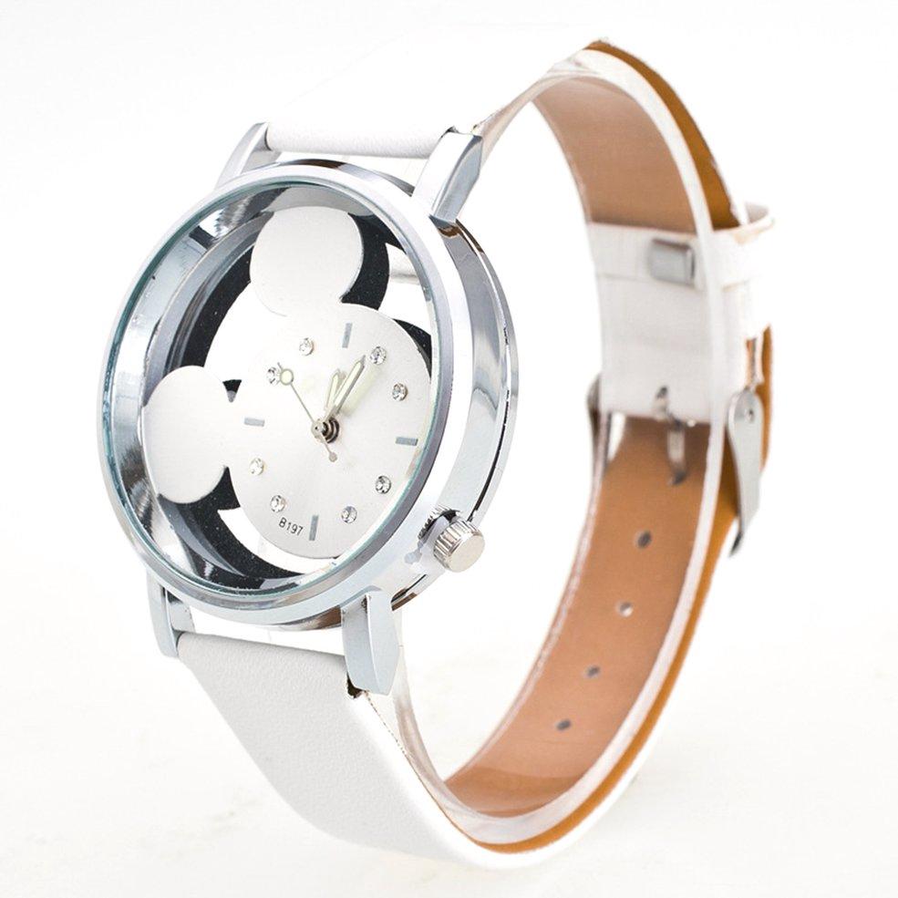 นาฬิกา⭐Children'S Quartz Watch Cartoon Mouse Watch Hollow Cartoon Anime Mouse Watch
