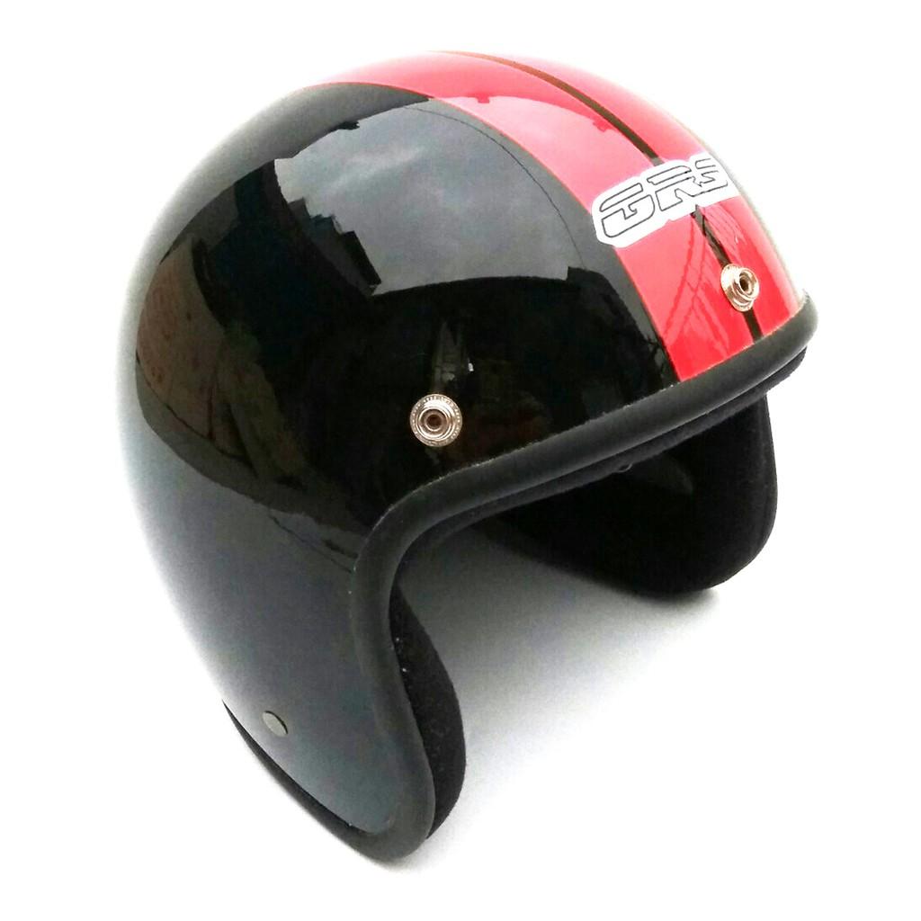 Mũ bảo hiểm 3/4 GRS A360 - đen bóng sọc đỏ