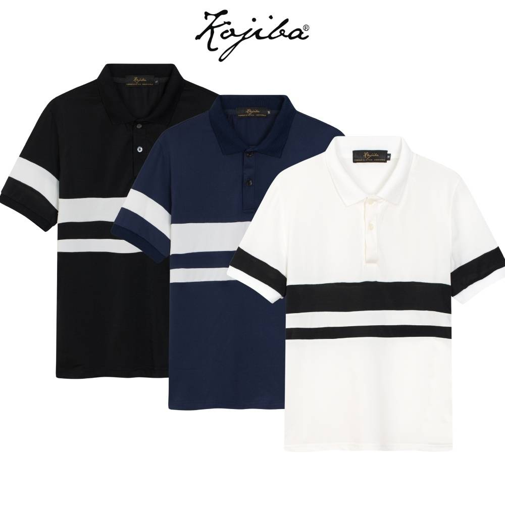 Áo thun polo nam ngắn tay Kojiba dáng ôm phối viền kẻ ngang vải co dãn nhẹ PLK01