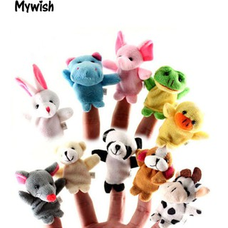 👶🏼10Pcs Mini Cartoon Animals Family Finger PupDoll Baby Educational Hand Toy