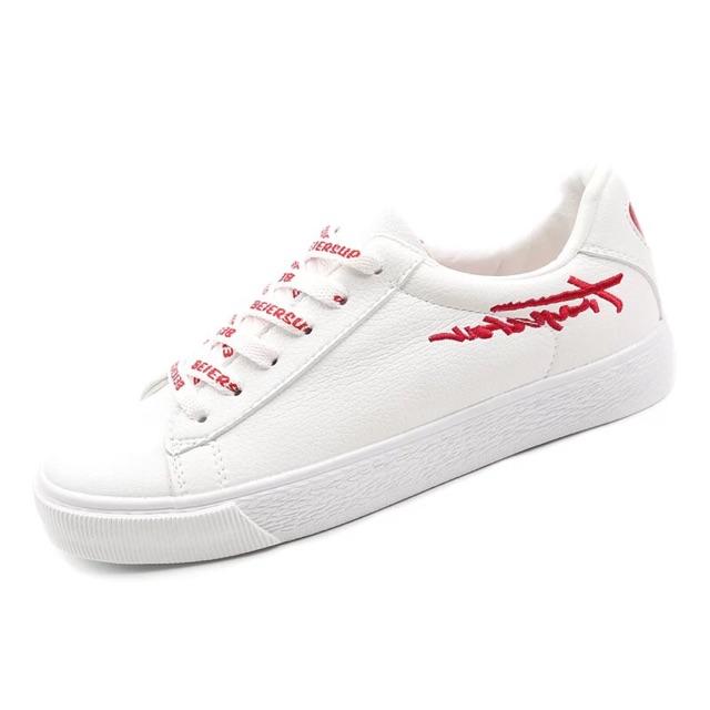 Giày thể thao nữ trắng dây đỏ kiểu mới D22 có hộp