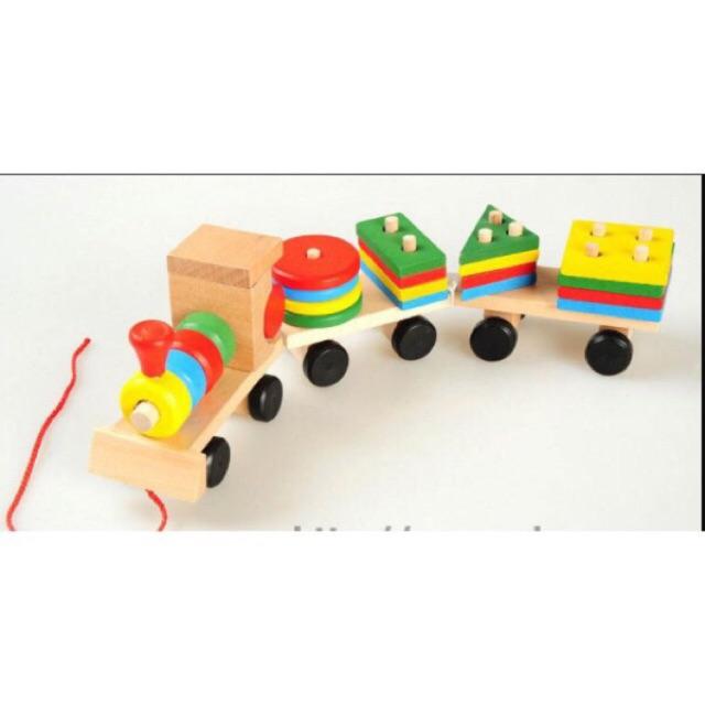 Đồ chơi gỗ đoàn tàu lắp ghép hình khối cho bé