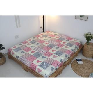 Tấm Drap lẻ KHA LY  - Ga lẻ ( không áo gối ) - 100% cotton thiên nhiên - Happy Love Hồng - VN242