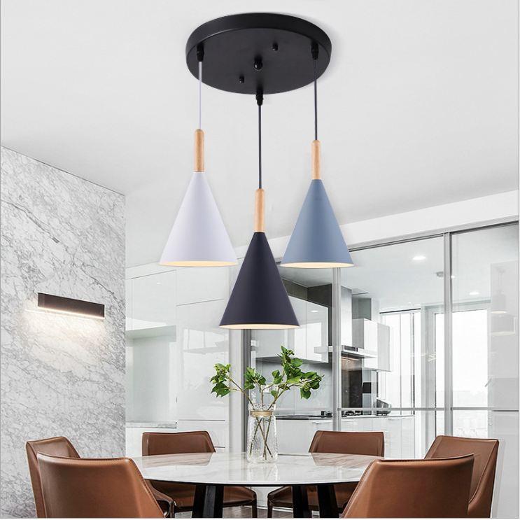 Bộ đèn thả bàn ăn NAUL kiểu dáng hiện đại - kèm bóng LED chuyên dụng và đế ốp trần