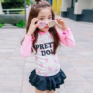Children's swimsuit girl split princess skirt small child long sleeve beach sunscreen cute baby Korean girl's clothing