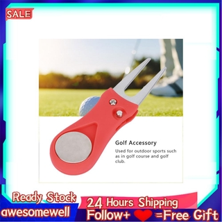Awesomewell Portable Golf Green Divot Repair Tool Folding Ball Fork Lawn Repairing Golfer Practicing Accessory