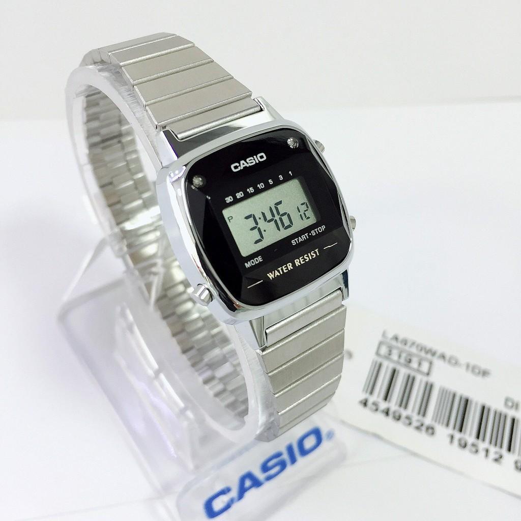 HOT Đồng Hồ Nữ Casio LA670WAD-1DF Điện Tử - Dây Đeo Kim Loại - Mặt Vuông Đính Đá Kim Cương chính hãng