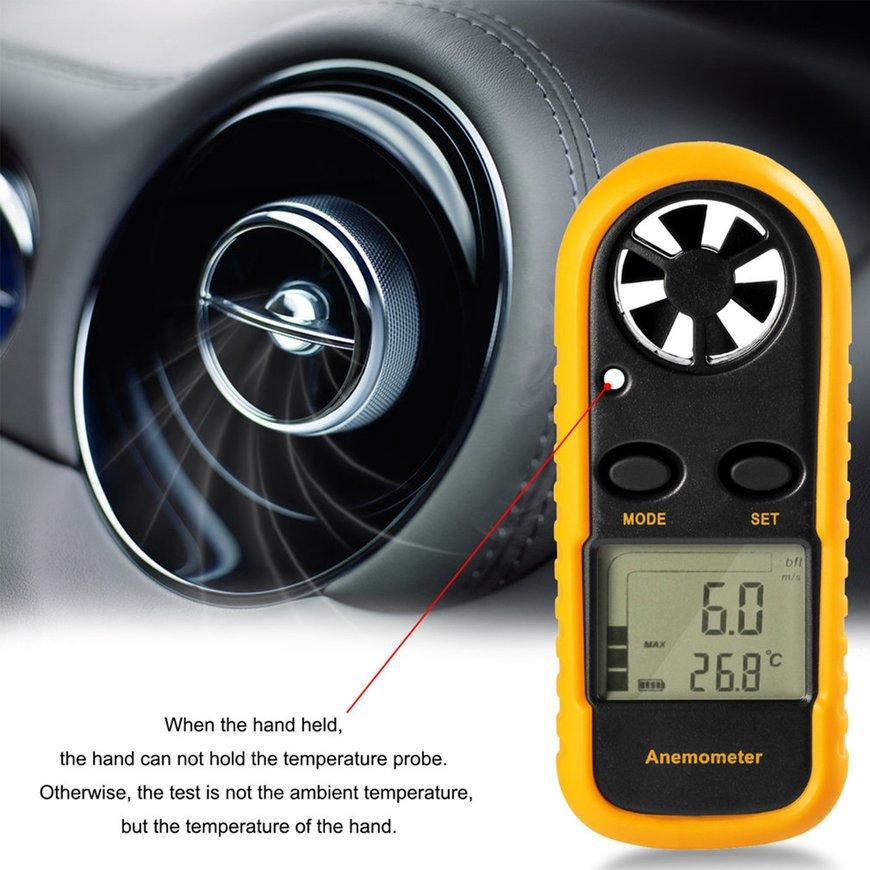 New Digital LCD Anemometer Thermometer Air Wind Speed Meter Temperature Tester