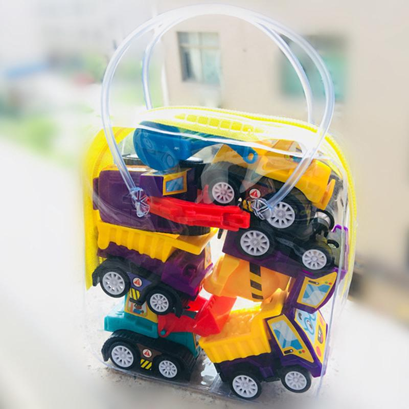 ☽6Pcs Mini Pocket Pull Back Model Plastic Car Truck Vehicle Toys For Baby Kids