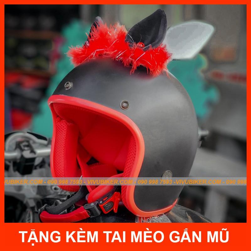 Mũ bảo hiểm 3/4 kèm tai mèo gắn nón đen lót đỏ siêu cute - Nón bảo hiểm đen nhám tai thỏ Fung Fing chính hãng