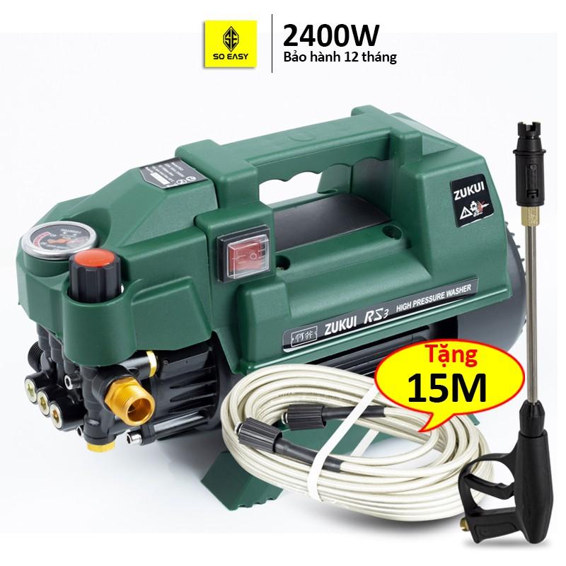 Máy rửa xe gia đình công suất mạnh 2400W, may rua xe mi ni, ống bơm nước 15m, vòi bơm áp lực cao C0007RS3