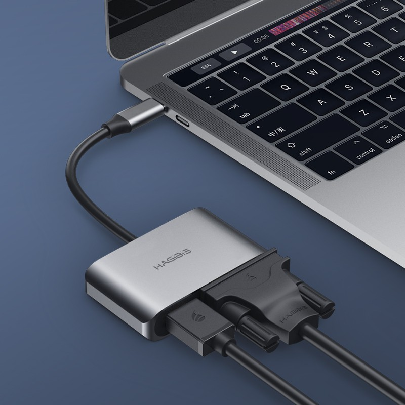 [Mã SKAMPUSHA7 giảm 8% đơn 250k]Cáp chuyển đổi Hagibis 2in1 USB-C to HDMI/VGA 4K