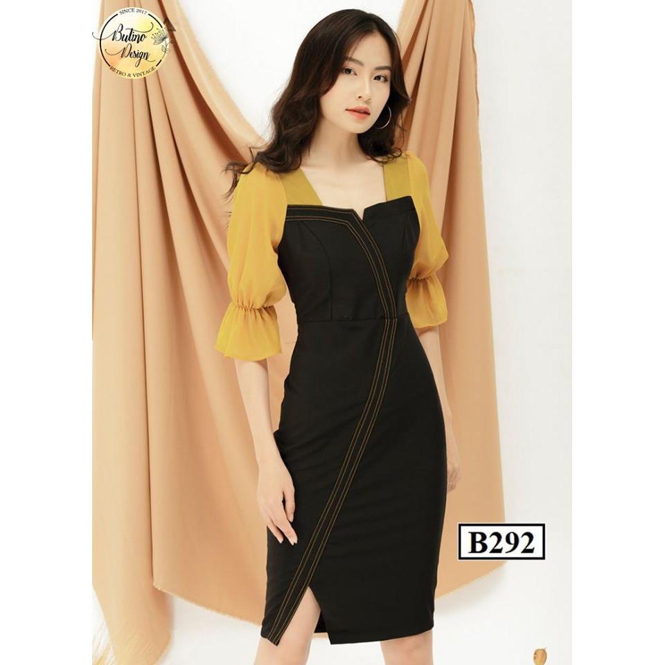 Váy đầm body B292 đen vàng BUTINO SHOP thời trang nữ hàng thiết kế Cao