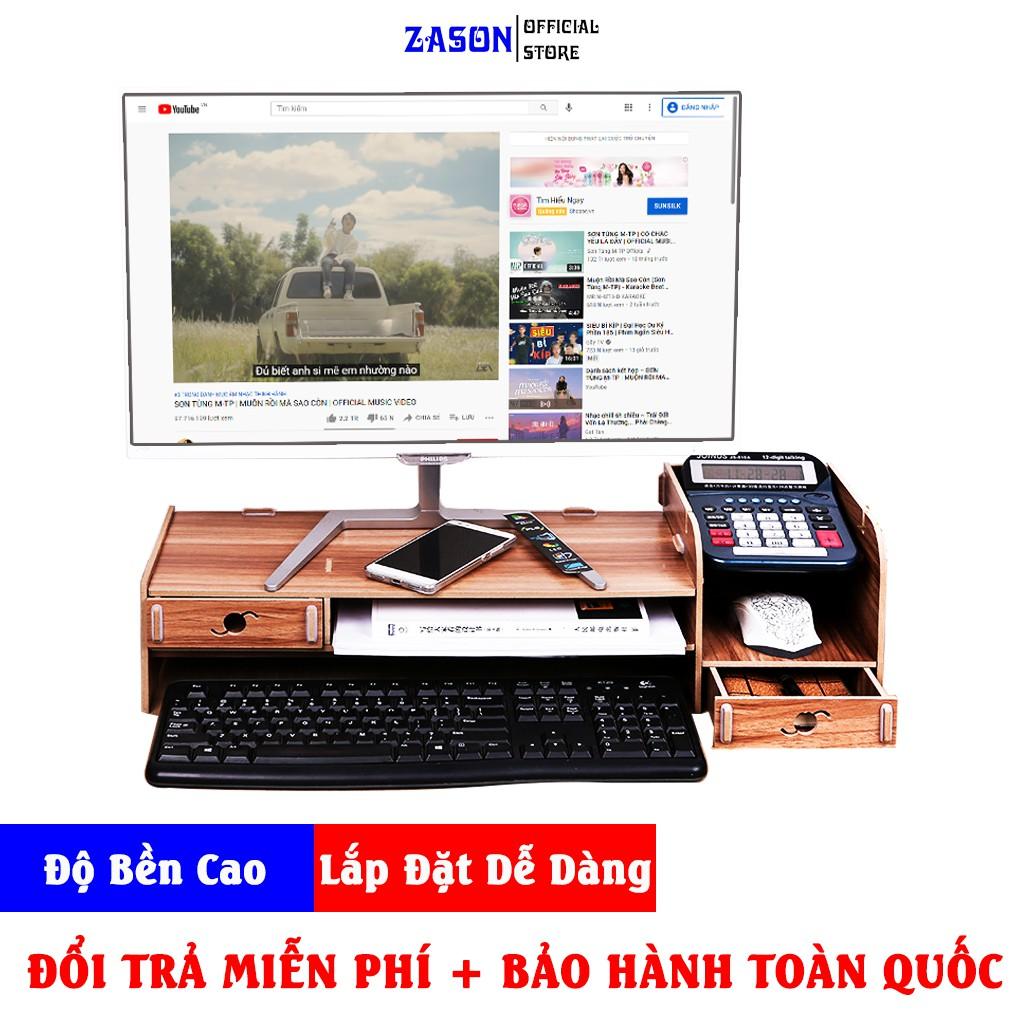 Kệ Gỗ Để Bàn Cho Máy Tính PC & Laptop Chất Liệu Gỗ Tự Nhiên Sấy Khô, Kệ Màn Máy Tính Zason Dễ Dàng Lắp Đặt