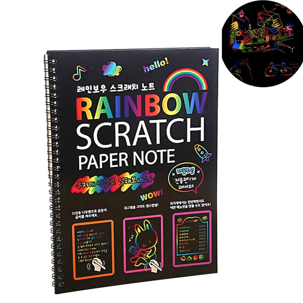 Kids DIY Magic Notepad Stationery Cute Drawing Black Page Painting Graffiti Notebook
