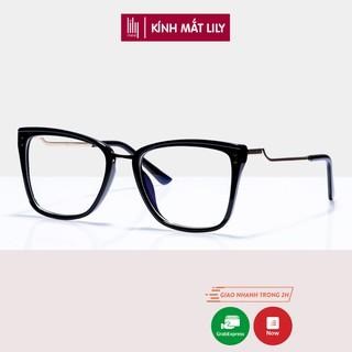 Gọng kính cận nữ Lilyeyewear mắt vuông to chất liệu kim loại chắn chắn kiểu dáng thời trang 87043