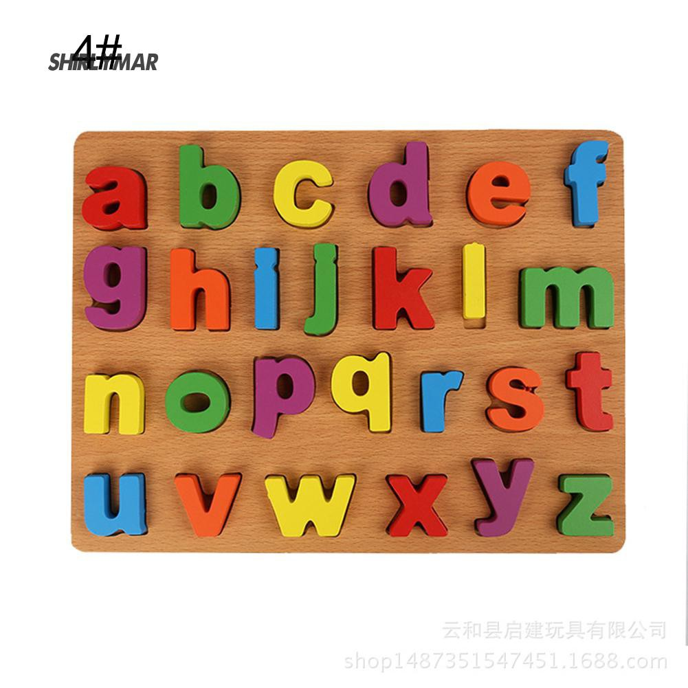 ஐSr ChildAlphabet ABC Numbers Wooden Learning Toy Kid Educational Puzzle Board
