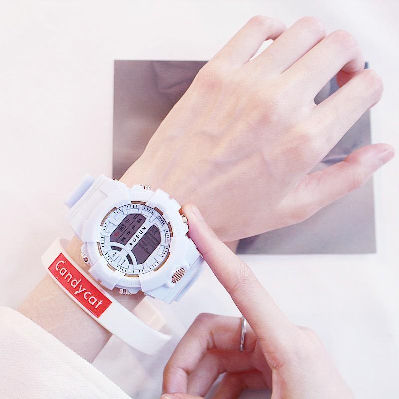 Đồng hồ nam nữ điện tử dây cao su Aosun chống nước DH107
