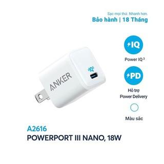 Cốc Sạc 1 Cổng Anker PowerPort III Nano 18W Tích Hợp PowerIQ 3.0 - A2616 - Hàng Chính Hãng - Bảo Hành 18 Tháng thumbnail