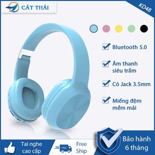 Tai nghe Bluetooth không dây chơi game chụp tai KD48 âm thanh siêu trầm 5.0, gọi thoại HD Micro  jack cắm 3.5mm