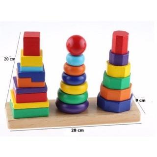 [Cỡ lớn] Đồ chơi gỗ bộ 3 cột tháp xếp hình khối cho bé