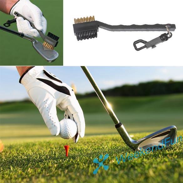 Bàn chải làm sạch gậy đánh golf bằng đồng 2 mặt