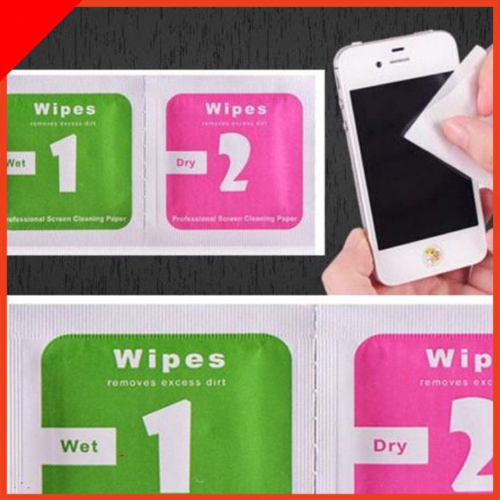 Giấy lau màn hình điện thoại ,ipad, kính, máy tính bảng ,1 miếng lau ướt +1 miếng lau khô taiyoshop1