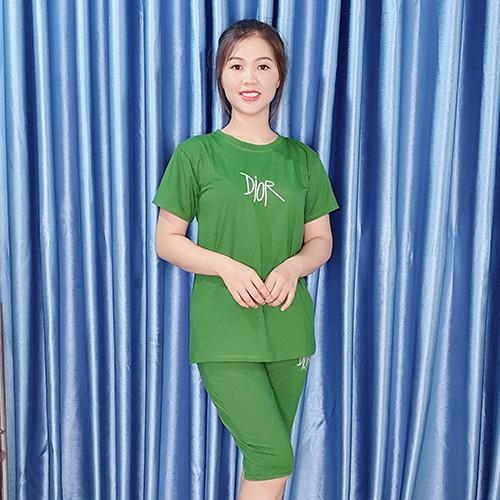 [Có size đến 90KG]Đồ bộ nữ mặc nhà cotton quần dài áo thun tay ngắn - Anquachi