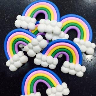 Nguyên liệu decoden – charm trộn slime – đám mây cầu vồng
