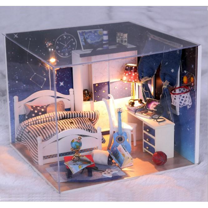 Mô hình nhà búp bê DIY phòng ngủ ngân hà xanh có đàn và bóng rổ