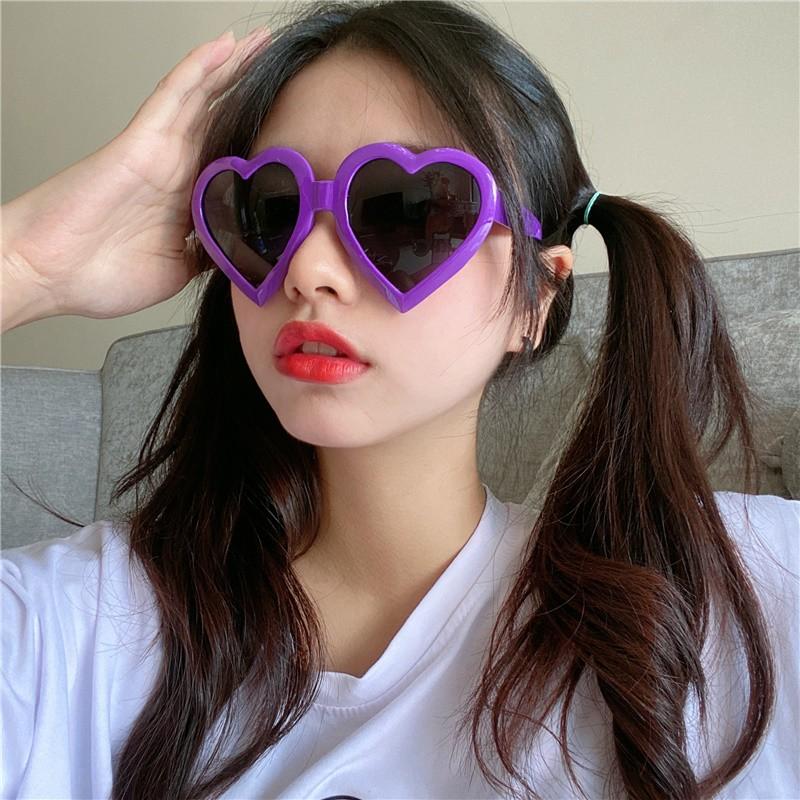 Ins Harajuku Love Sunglasses Female Korean Version Of The Net Red Sunglasses Seaside Vacation Big Frame Peach Heart Beac