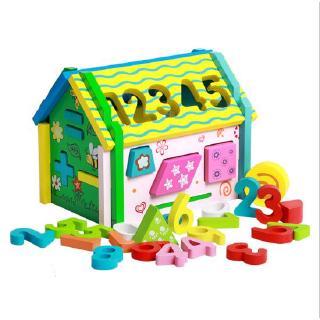 Đồ chơi gỗ ngôi nhà thả hình học và chữ số