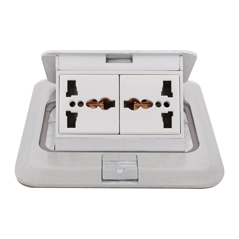 Ổ cắm sàn Màu Bạc gồm 2 ổ cắm 3 chấu đa tiêu chuẩn Simon TD120F25H