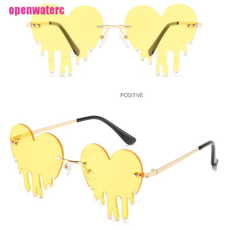 OPE Fashion Love Heart Rimless Sunglasses Women Tears Shape Punk Vintage Eyewear