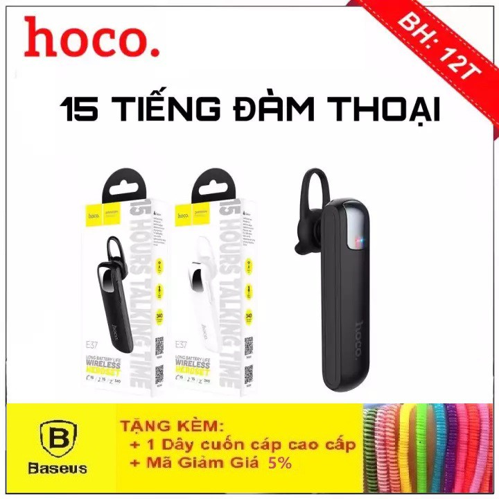 Tai Nghe Bluetooth Hoco E37 - Tai Nghe Không Dây Pin Khủng 15h - Bảo Hành Chính Hãng 12 Tháng