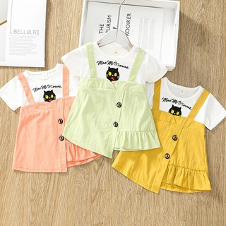 2021 Summer New Baby Girl Baby Fashion Casual Cartoon Print Irregular Dress