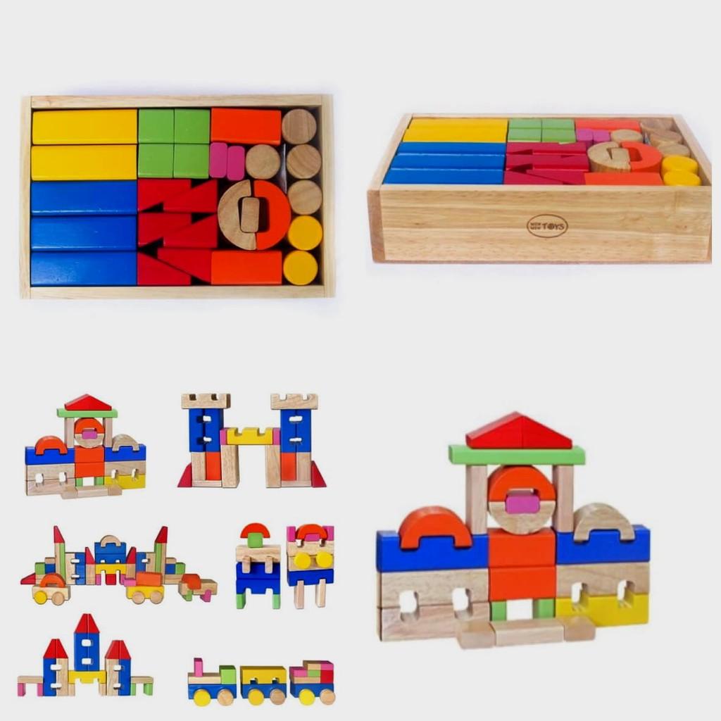 Đồ chơi xếp hình khối lâu đài gỗ winwintoys   Đồ chơi lâu đài cho bé chính  hãng