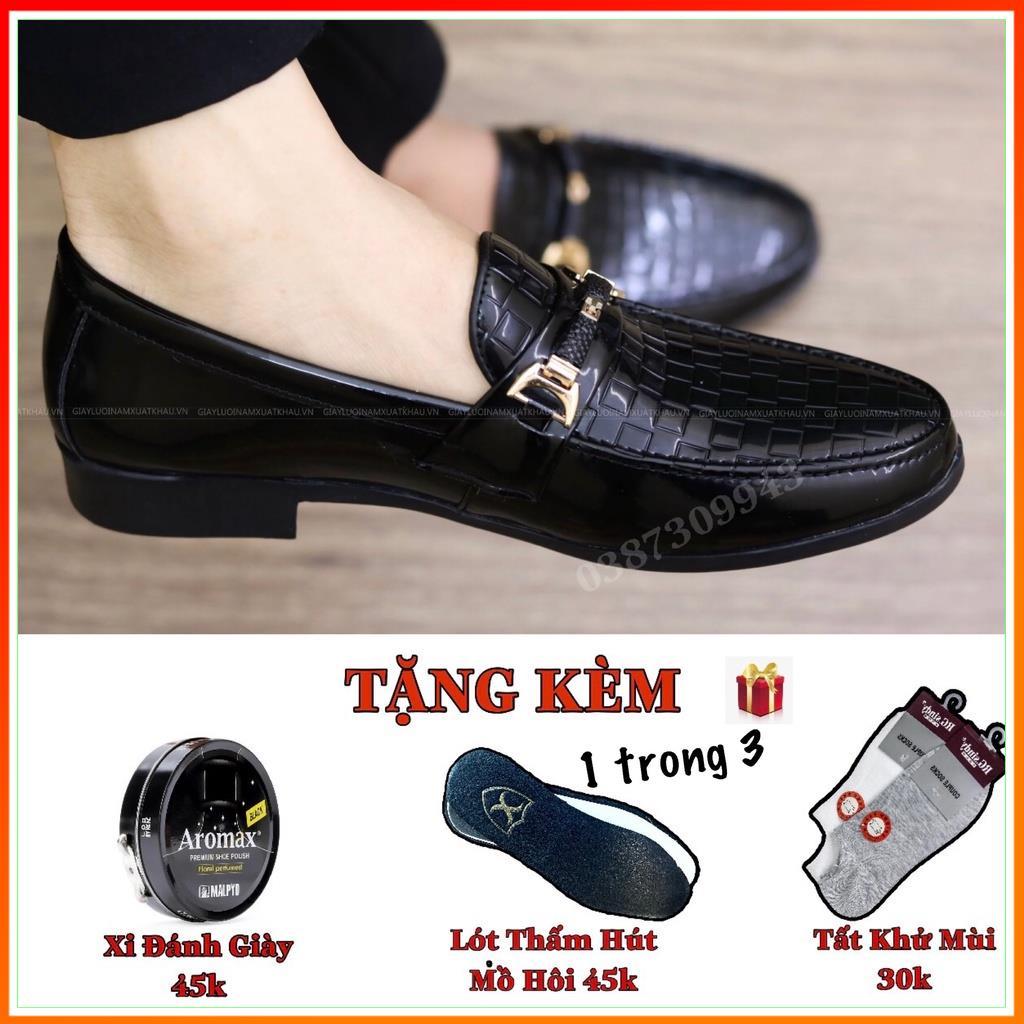 Giày Lười Nam Giá Rẻ Da Bóng Đai Vàng Bắt Mắt Đế Cao 3cm - Mã L157