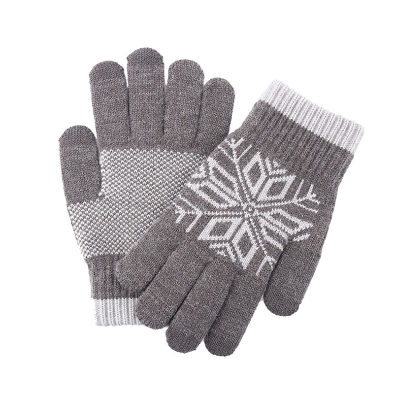 1 Pair Knitted Gloves Anti-slip Thicken Screen Touch Hand Protector for Skiing