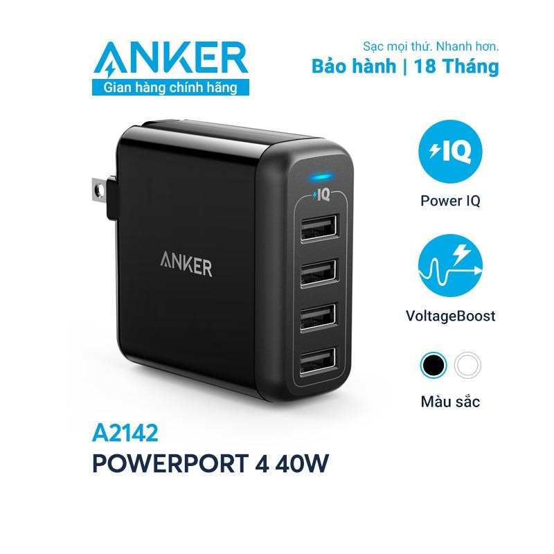 Sạc ANKER PowerPort 4 Cổng USB, 40w - A2142