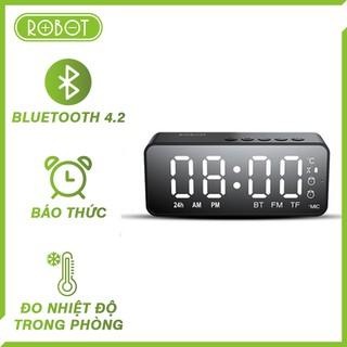 Loa bluetooth mini Robot RB150 kèm đồng hồ báo thức, màn hình LED bluetooth 5.0, đo nhiệt độ phòng, gọi thoại HD