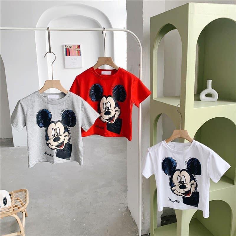 Áo phông cộc tay cho bé 💖 Áo cotton in hình chuột Mickey cho bé trai bé gái 💖 Quần áo trẻ em