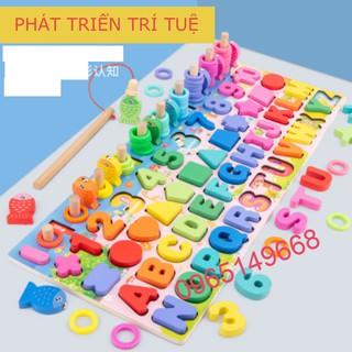 đồ chơi bảng chữ số xếp hình gỗ trí tuệ dành cho bé học đếm