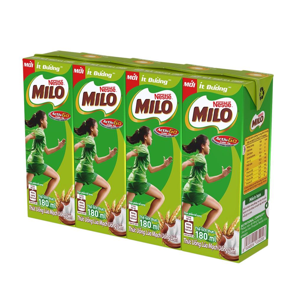 Hình ảnh [Mã GRO1NEST19 giảm tối đa 35K đơn 150K] Thùng Thức uống lúa mạch uống liền Nestlé MILO ít đường 48x180ml-1